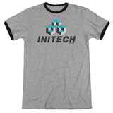 Office Space Initech Logo Adult Ringer T-Shirt Heather/Black