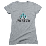 Office Space Initech Logo Junior Women's T-Shirt V Neck Athletic Heather