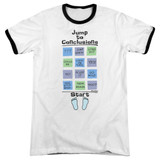 Office Space Jump To Conclusions Adult Ringer T-Shirt White/Black
