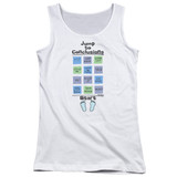 Office Space Jump To Conclusions Junior Women's Tank Top White
