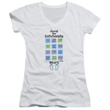 Office Space Jump To Conclusions Junior Women's T-Shirt V Neck White