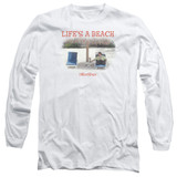 Office Space Life's A Beach Long Sleeve Adult 18/1 T-Shirt White