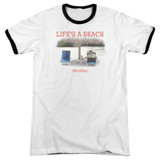 Office Space Life's A Beach Adult Ringer T-Shirt White/Black