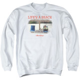 Office Space Life's A Beach Adult Crewneck Sweatshirt White