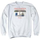 Office Space Life's A Beach Adult Crewneck Sweatshirt White
