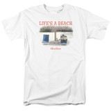 Office Space Life's A Beach S/S Adult 18/1 T-Shirt White