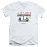 Office Space Life's A Beach S/S Adult V Neck 30/1 T-Shirt White