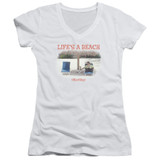 Office Space Life's A Beach Junior Women's T-Shirt V Neck White