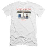 Office Space Life's A Beach Premium Canvas Adult Slim Fit 30/1 T-Shirt White