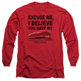 Office Space Stapler Long Sleeve Adult 18/1 T-Shirt Red