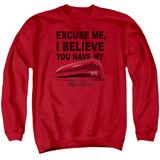 Office Space Stapler Adult Crewneck Sweatshirt Red