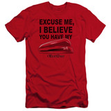 Office Space Stapler Premium Canvas Adult Slim Fit 30/1 T-Shirt Red