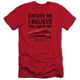 Office Space Stapler S/S Adult 30/1 T-Shirt Red