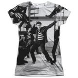 Elvis Presley Jubilant Felons Junior Women's Sublimated Crew T-Shirt White