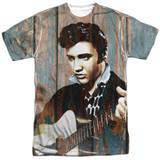 Elvis Presley Woodgrain Adult Sublimated Crew T-Shirt White