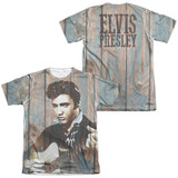 Elvis Presley Woodgrain (Front/Back Print) Adult Sublimated T-Shirt White