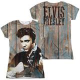 Elvis Presley Woodgrain (Front/Back Print) Junior Women's Sublimated Crew T-Shirt White