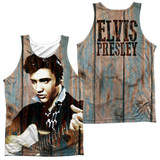 Elvis Presley Woodgrain (Front/Back Print) Adult Sublimated Tank Top T-Shirt White