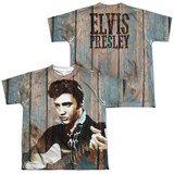 Elvis Presley Woodgrain (Front/Back Print) Youth Sublimated Crew T-Shirt White