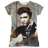 Elvis Presley Woodgrain Junior Women's Sublimated Crew T-Shirt White