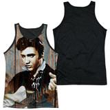 Elvis Presley Woodgrain Adult Sublimated Tank Top T-Shirt White/Black