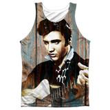 Elvis Presley Woodgrain Adult Sublimated Tank Top T-Shirt White