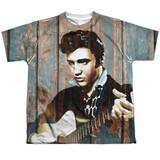 Elvis Presley Woodgrain Youth Sublimated Crew T-Shirt White
