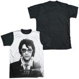 Elvis Presley Mugshot Adult Sublimated T-Shirt White/Black