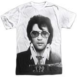 Elvis Presley Mugshot Adult Sublimated Crew T-Shirt White