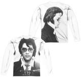 Elvis Presley Mugshot (Front/Back Print) Adult Sublimated Long Sleeve T-Shirt White