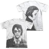 Elvis Presley Mugshot (Front/Back Print) Adult Sublimated T-Shirt White
