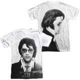 Elvis Presley Mugshot (Front/Back Print) Adult Sublimated Crew T-Shirt White