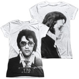 Elvis Presley Mugshot (Front/Back Print) Junior Women's Sublimated Crew T-Shirt White