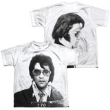 Elvis Presley Mugshot (Front/Back Print) Youth Sublimated Crew T-Shirt White