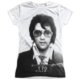 Elvis Presley Mugshot Junior Women's Sublimated Crew T-Shirt White