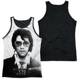 Elvis Presley Mugshot Adult Sublimated Tank Top T-Shirt White/Black