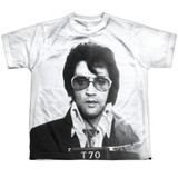 Elvis Presley Mugshot Youth Sublimated Crew T-Shirt White