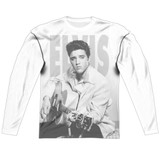 Elvis Presley Play Me A Song Adult Sublimated Long Sleeve T-Shirt White