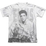 Elvis Presley Play Me A Song Adult Sublimated T-Shirt White