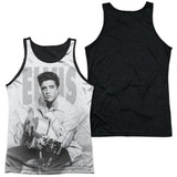Elvis Presley Play Me A Song Adult Sublimated Tank Top T-Shirt White/Black