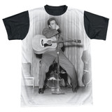 Elvis Presley On Your Toes Adult Sublimated T-Shirt White/Black