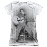 Elvis Presley On Your Toes Junior Women's Sublimated Crew T-Shirt White