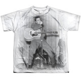 Elvis Presley On Your Toes Youth Sublimated Crew T-Shirt White