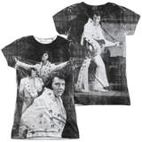 Elvis Presley Legendary Performance (Front/Back Print) Junior Women's Sublimated Crew T-Shirt White