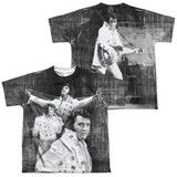 Elvis Presley Legendary Performance (Front/Back Print) Youth Sublimated Crew T-Shirt White
