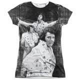 Elvis Presley Legendary Performance Junior Women's Sublimated Crew T-Shirt White