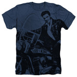Elvis Presley Riding Like A King Adult Sublimated Heather T-Shirt Navy