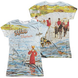 Genesis Foxtrot Cover (Front/Back Print) Junior Women's Sublimated Crew T-Shirt White