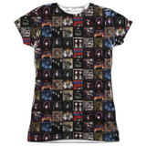 Kiss Album Covers Junior Women's Sublimated Crew T-Shirt White