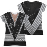 Kiss Spaceman Costume (Front/Back Print) Junior Women's Sublimated Crew T-Shirt White